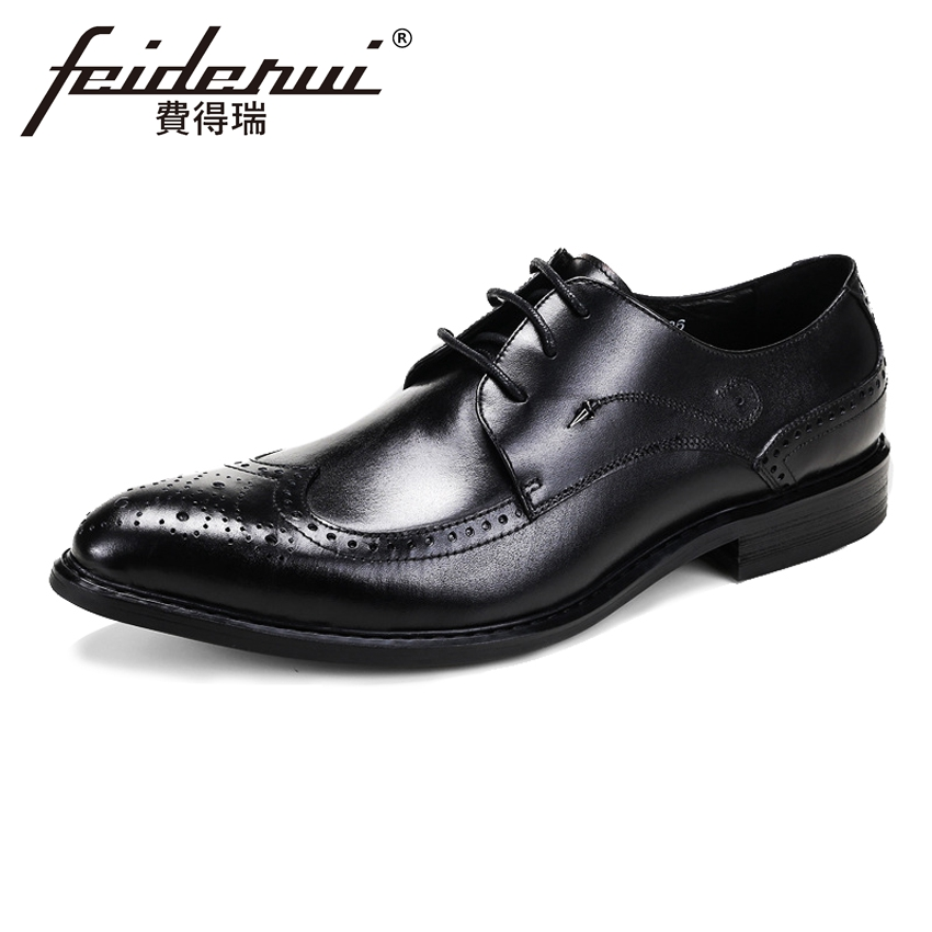 British Style Genuine Cow Leather Men's Wedding Oxfords Vintage Round Toe Wingtip Flats Formal Dress Brogue Shoes For Man ASD87 2017 new genuine leather mens oxfords business dress wedding shoes lace up british style top quality cow leather brogue oxfords