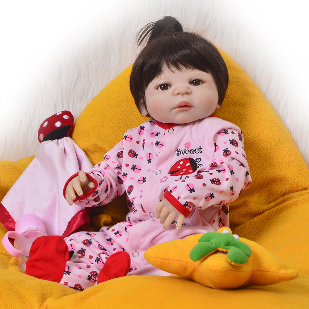 23 Inch 57 cm Full Silicone Vinyl Realistic Reborn Baby Doll Lifelike Princess Girl Babies Dolls For Kid Xmas Gift Reborn Boneca cute truly newborn doll 23 inch fashion baby toy realistic full vinyl silicone babies doll handmade gift for girl reborn boneca