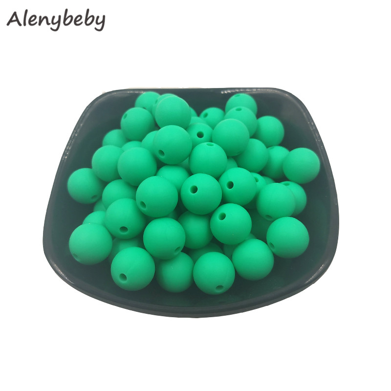 100pcs Food Grade Round Silicone Beads 15mm Baby Teething Necklace Toy DIY Pacifier Chain Care Baby Teether Product BPA Free