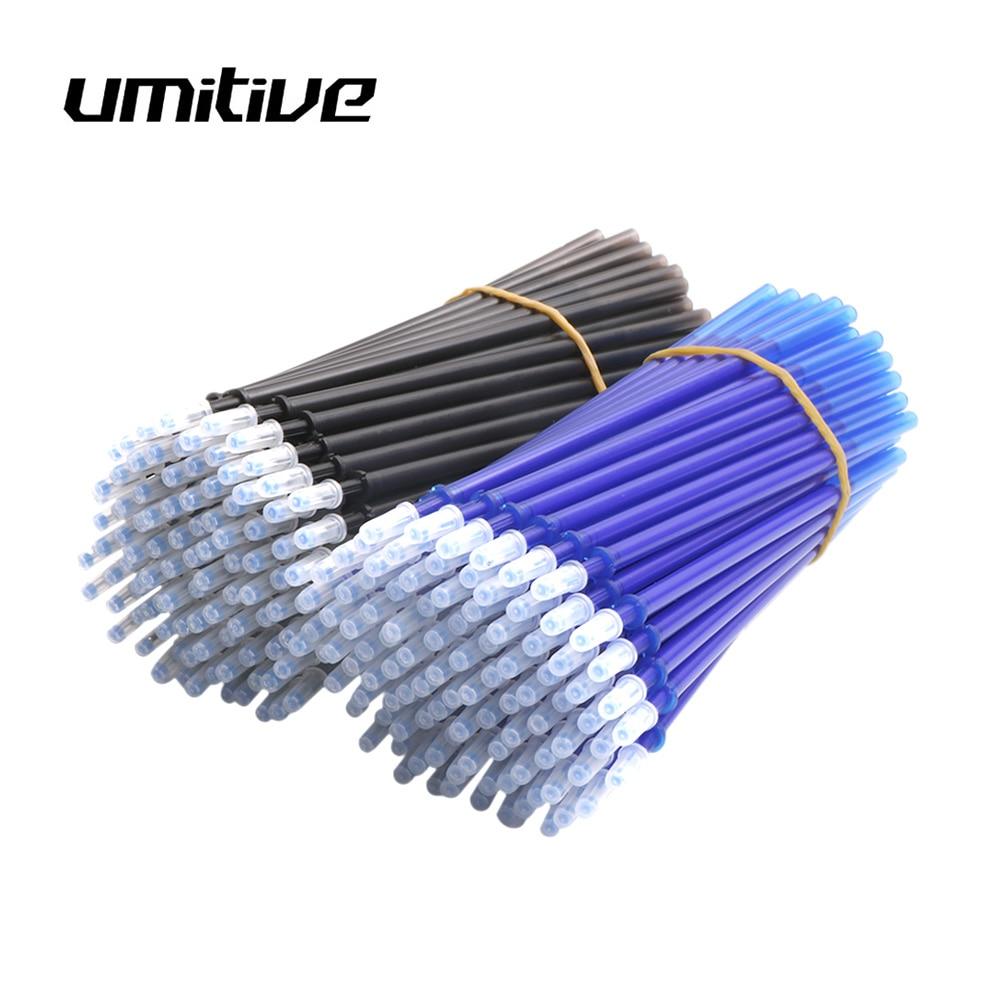 Umitive 30Pcs/set Erasable Refill Gel Pen 0.5mm Blue Black Ink School Stationery Office Writing Tool