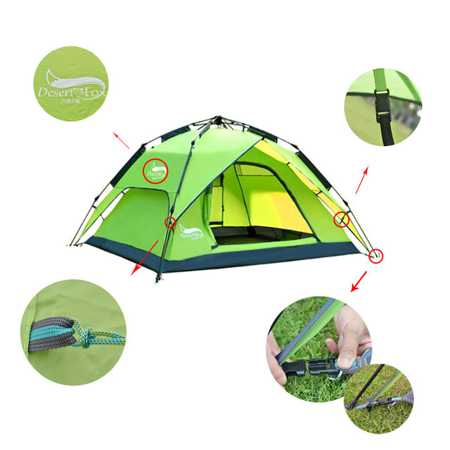 Family tent for 3-4 persons double layer Instant installation of portable backpack for hiking trips