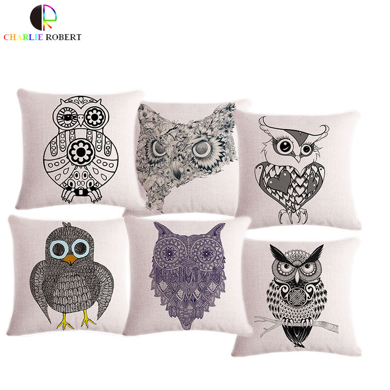 ᗑLovely animal búho 45*45 cm decorativo Cojines sin núcleo de alta ...