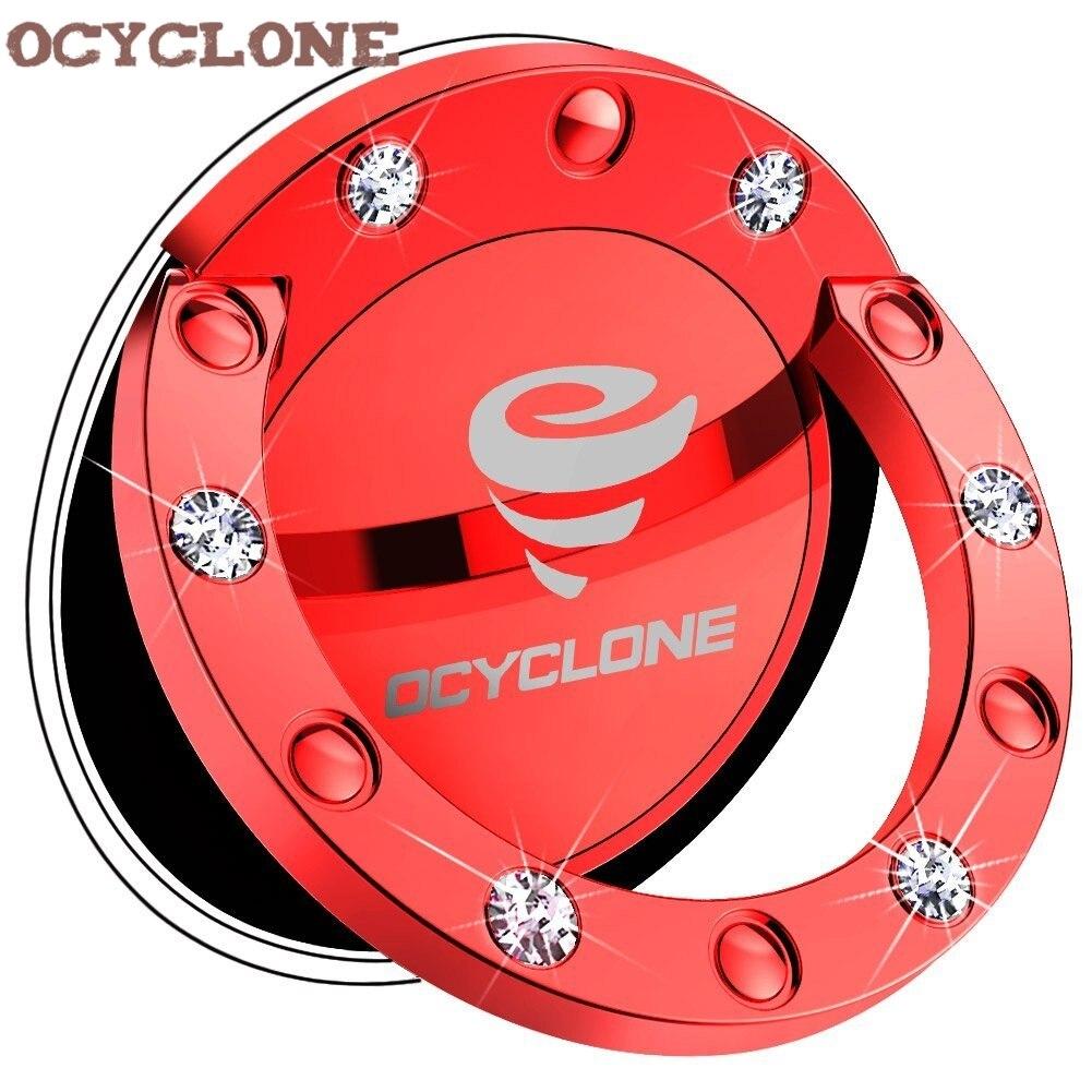 Red Handy Grip Luxury 360 Degree Metal Bling Bling Diamond Case Finger Ring Holder Kickstand Smartphone Mobile Phone Car Stand