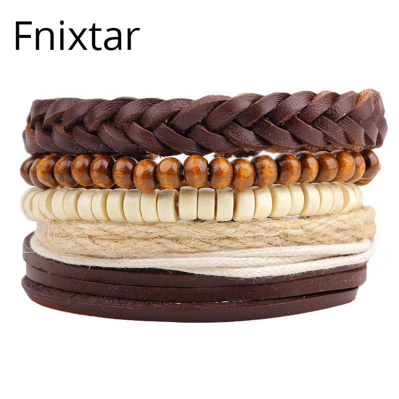 Fnixtar moda kobiety mężczyźni skórzane bransoletki i Bangles mężczyzn biżuteria bransoletki w stylu Punk bransoletka mankiet prezent dla chłopaka 5 sztuk/zestaw