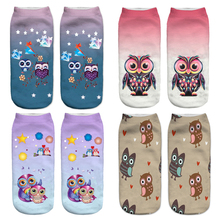 New arrival Women Low Cut Ankle Socks Funny owl 3D Printing Sock Cotton Hosiery Printed Sock