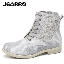 JEARRO Women Shoes Ankle Boots Fashion Woman Lace-Up Casual  Spring Boots Female Flat Sneakers Footwear 2019 New Size 37