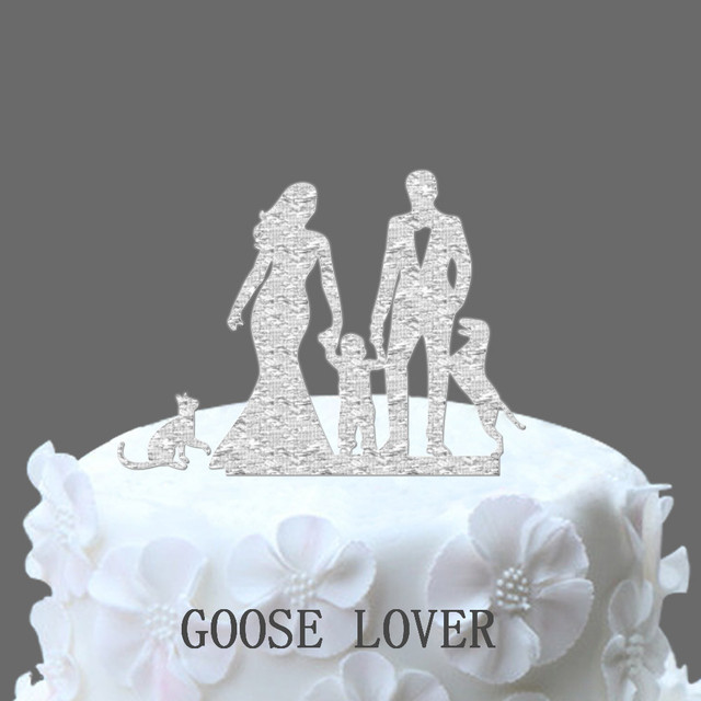 Momdad wedding cake topper with boy dog and cat wedding silhouette momdad wedding cake topper with boy dog and cat wedding silhouette cake decor rustic junglespirit Images