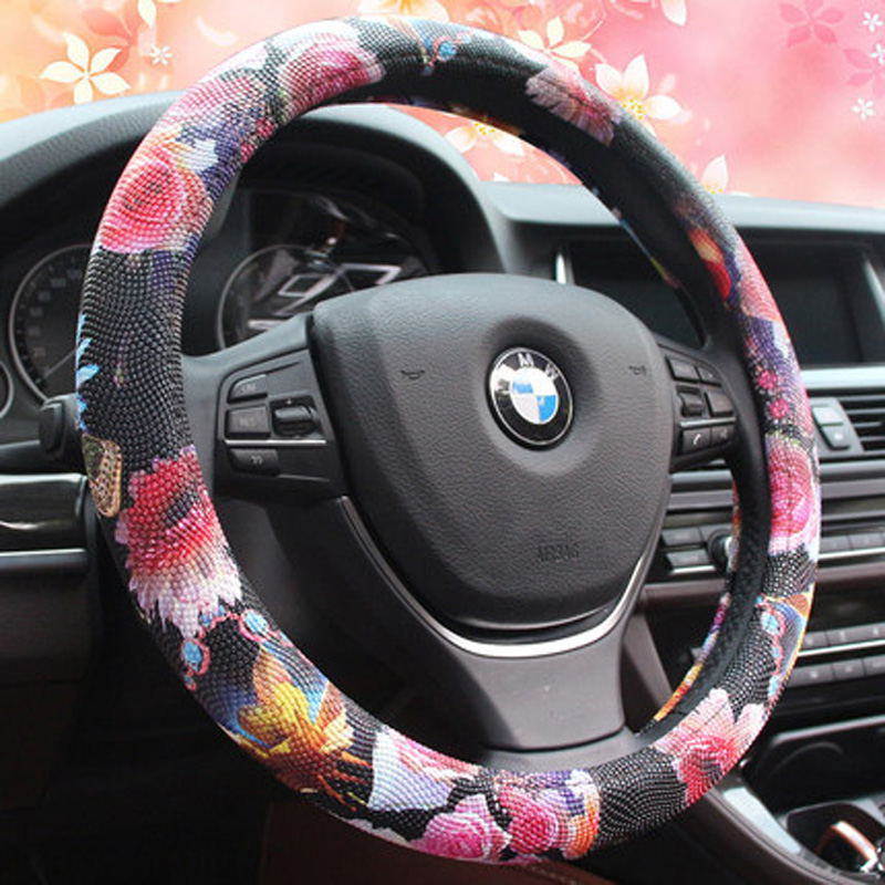 Vintage Dot Car Steering Wheel Cover Four Season Cute Flower Steering Covers Sport Steering-Wheel Cases Universal 38CM For Girls vintage leather steering wheel cover flower printing women s car steering wheel covers for girls car steering accessories