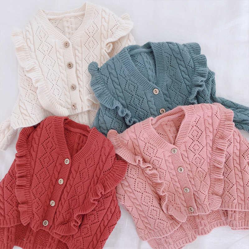 3b96965c6cd154 Ruffles V Necek Girls Sweater 2018 Fall Winter Toddler Baby Girls Cardigan  Sweaters Hollow Out Knitted