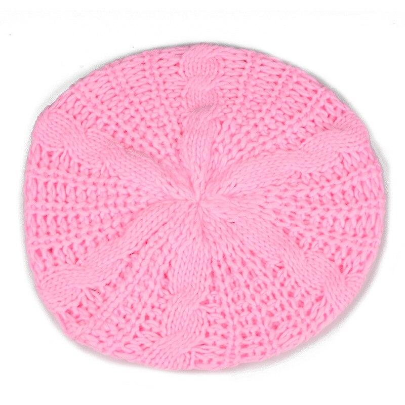 2017 NEW Beret tresse Crochet Chapeau Bonnet ski des Femmes Style Mode Tricotes Rose