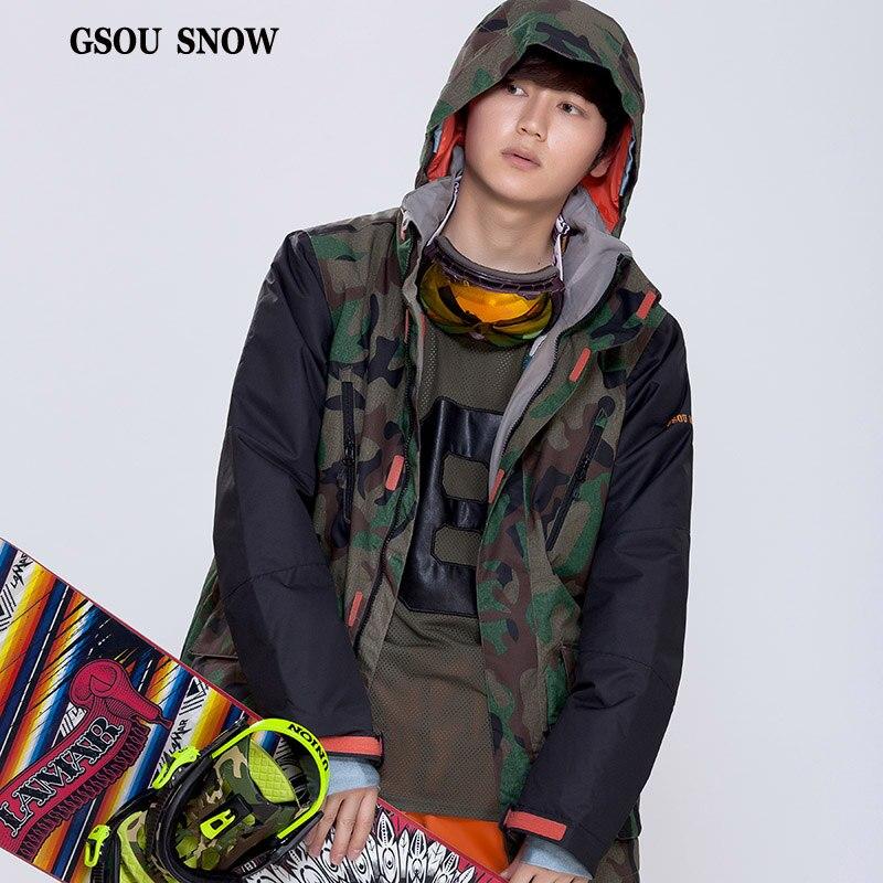 Prix pour GSOU SNOW Version De Camouflage Manteau Plus Chaud Ski Hiver Mâle Pur Couleur Double Plaque Extérieure Imperméable Respirant Veste de Ski