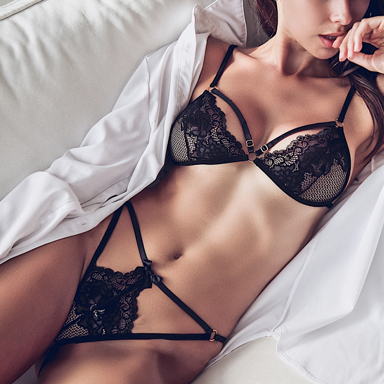 Black French Women Lingerie Set Lace Embroidery Metal Exposed Thin Bra Panty Sexy Underwear Push Up Bra & Brief Sets Intimates lingerie top