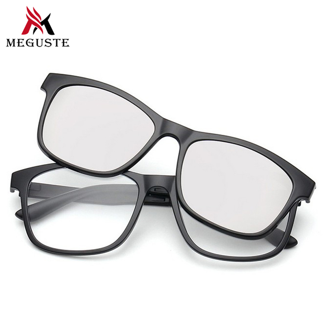 23292a14d4 Meguste cuadrados Miopía marco de anteojos mujeres y hombres con polarizado  clip magnético, imán gafas