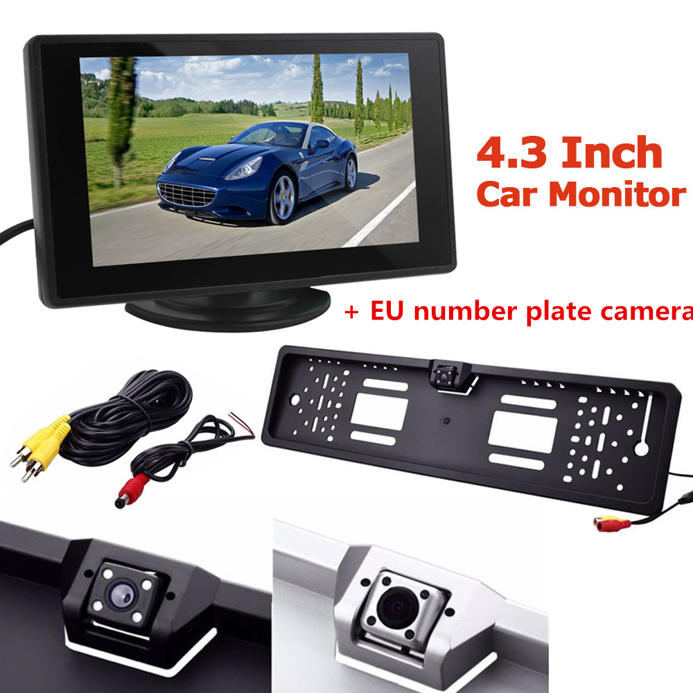 Hot Sale Car Rear View Camera Anti fog Glass Backup Parking with EU European License Plate Frame 4.3 inch LCD Monitor