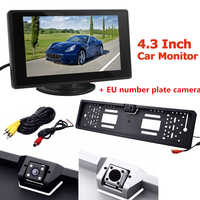 4.3 Inch 2 Channel Video Input LCD Car Rearview Monitor with EU European License Plate Frame Car Rear View Backup Parking Camera