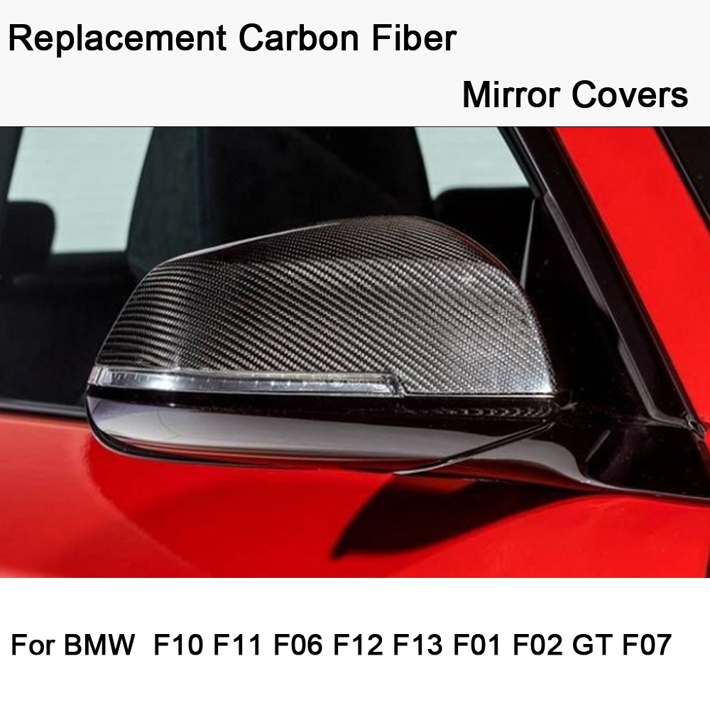 Car styling Replacement Carbon Fiber Mirror Covers Caps Shell for <font><b>BMW</b></font> 5 6 7 series F10 <font><b>F11</b></font> GT F07 F06 F12 F13 F01 F02 image