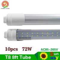 R17D Double Row 8ft Led Tube Lights T8 2400mm 2.4m 72W Frosted Clear Cover Replace F96HO/CW t10 t12 Fluorescent bulb lamp 10pcs