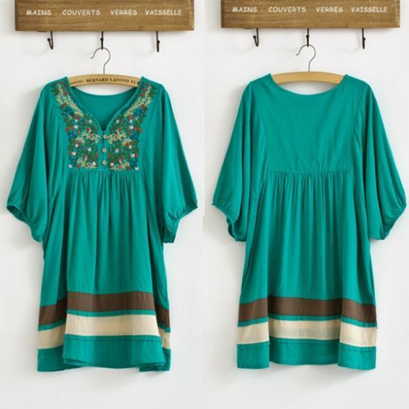 d6ff866a82 Etniczne Kobiety Dziewczyna Haftowane Sukienka W Ciąży Bliski Rękawem  Zielony V Collar Dress vestidos casual dress Darmowa Wysyłka