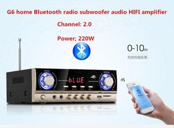 G6 220W 2.0 channel HIFI AV home Bluetooth FM radio subwoofer audio karaoke amplifier With LED display USB / SD microphone input