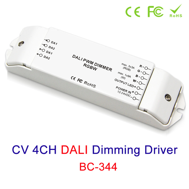 New CV 4 channels led DALI led lamp RGBW driver dc12-24v RGB:3A/CH*3 W:9A/CH*1 PWM dimmer Controller for RGBW led strip