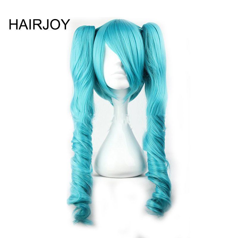 HAIRJOY Green Vocaloid Miku Cosplay Wig with Two Braids 65cm Long Curly Ponytails Synthetic Hair Wigs 6 Colors Available