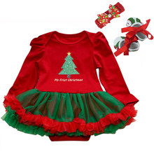 Newborn Baby Girl Christmas Dress Xmas Outfits Baby Baptism Dresses Birthday Kids Dress Cute Tutu Long Sleeve Rompers 2019 new(China)