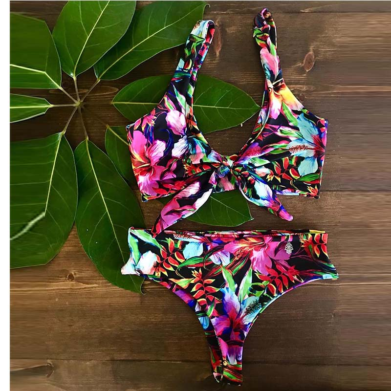 HTB1Z2VRbvfsK1RjSszgq6yXzpXa0 2019 Bikinis Women Swimwear Push Up Bikini Set Swimsuit Top Solid Bottom Print Brazilian Biquini Bathing Suit Swim Wear Beach