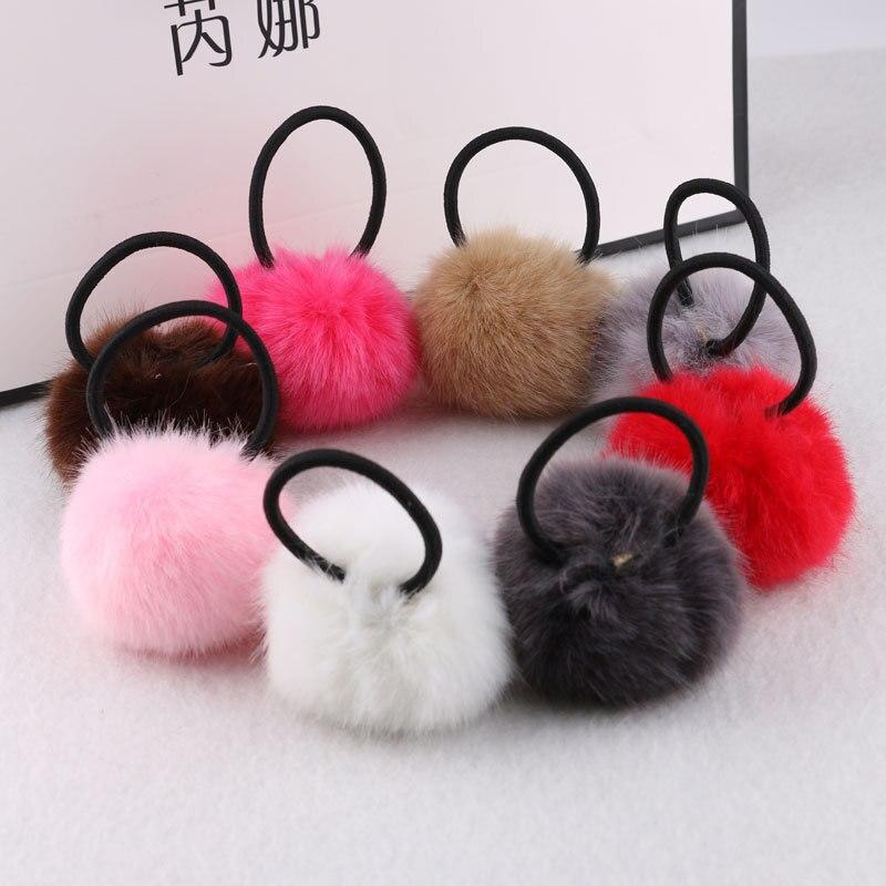Women Soft Furry Hair Ties Fur Ball Hair Rope Pompon Fashion Rubber Band Girls Hair Ring   Headwear   elastic Hair bands