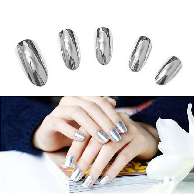 2pcs Silver Metal Mirror Nail Polish Chrome Pigment Nail Art Polish Decoration Varnish + Nail Base Coat DIY Nail Tools