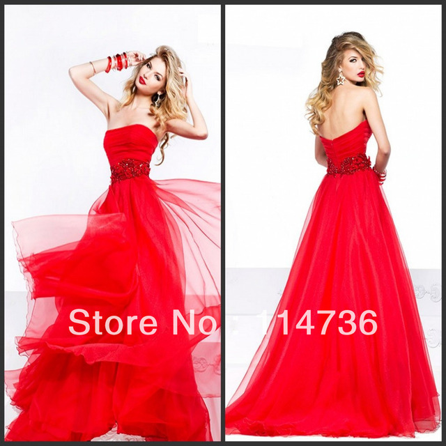 2014 blood Red Long Strapless ball gowns Tulle backless Bridal gowns  Evening dresses Sexy prom dress gowns a59589d0097a