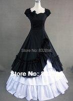 Элегантность черно Белый Готический Vitorian Платье Долго Хлопка Платье/gothic платье косплей