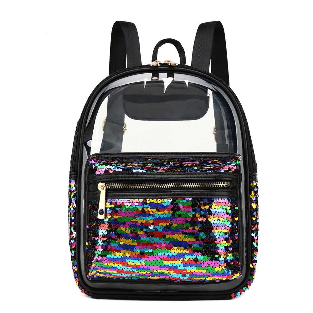 Women Clear Backpack Transparent Fashion Lady Sequins Bookbags Summer Cute Back Pack Leisure Bagpack