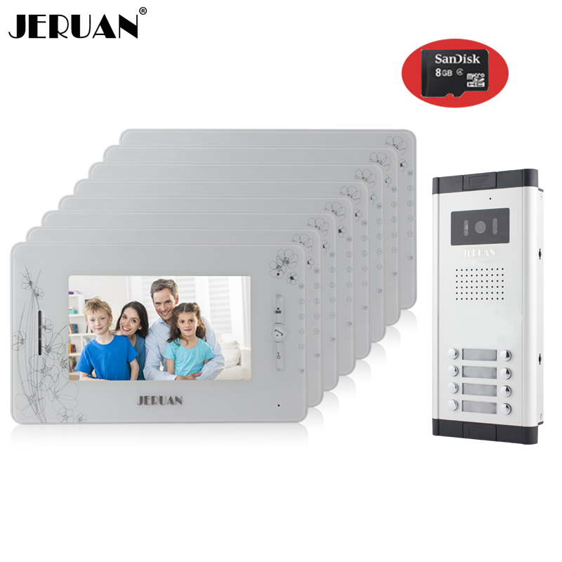 JERUAN Brand New Apartment Intercom 7`` LCD Video Door Phone Doorbell intercom System for 8 house 1V8+8GB card+free shipping