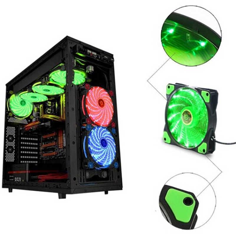 PC Computer Case Kühlung Ultra Silent 15 LEDs Fall Fan Kühlkörper Kühler Pc Fan 120mm 12 cm Fan 12 v DC