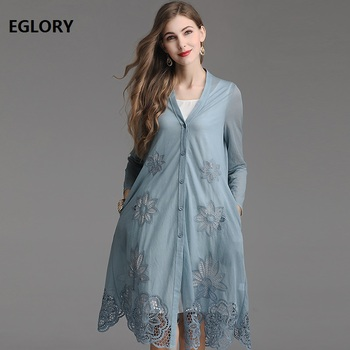 Plus Size Clothing 2019 Spring Summer Fashion Long Tops Coat Women Hollow Out Embroidery Single Breasted Black Blue Coat Outwear