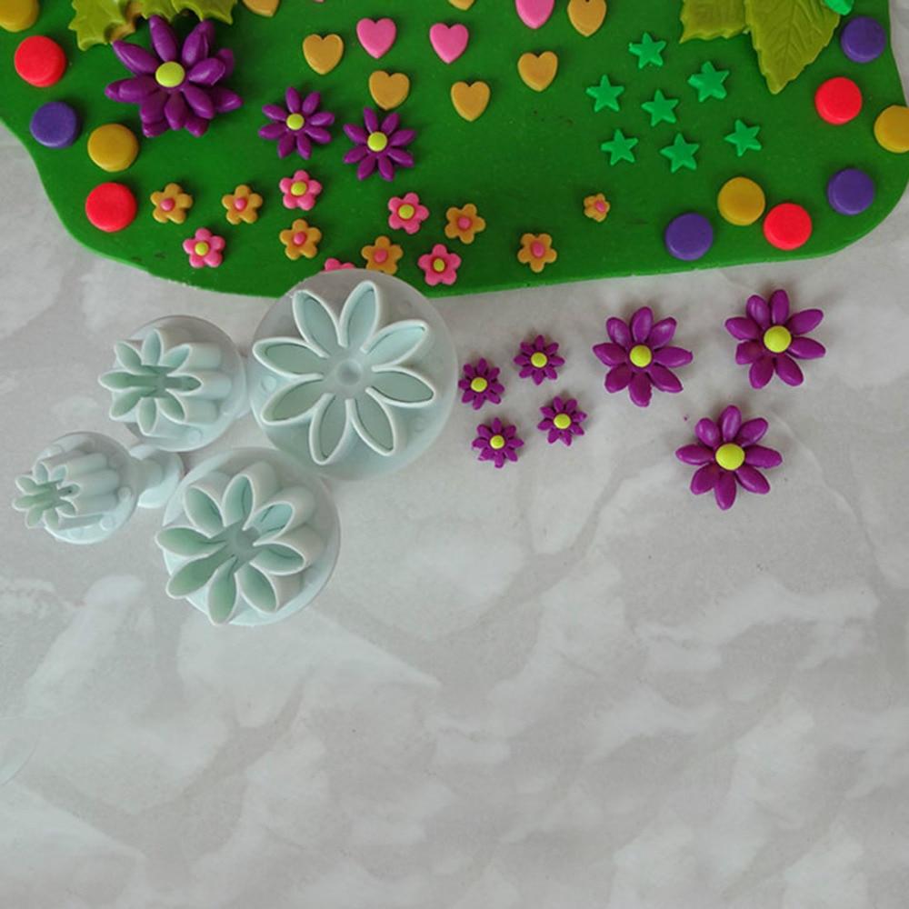 4pcsset Daisy Flower Cookie Sunflower Plunger Cutter Sugarcraft