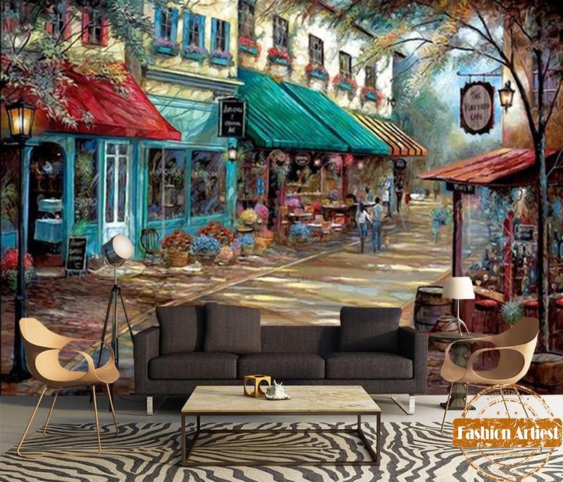 На заказ Современная романтическая картина маслом обои европейский город цветочный вид на улице магазин ТВ диван спальня гостиная кафе бар
