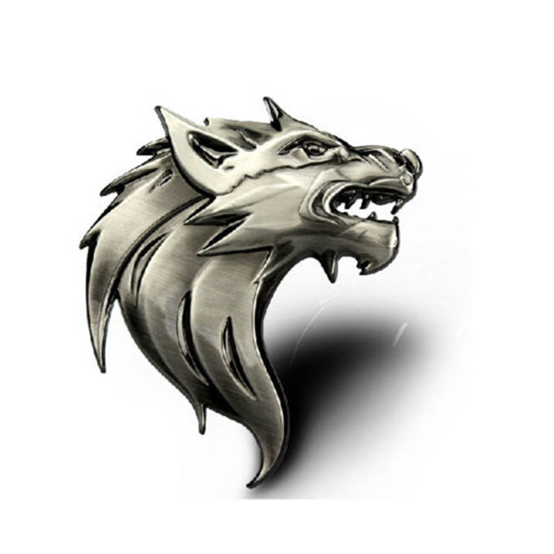 2015 hot 1pc metal wolf head car grill badge emblem auto front grille wolf car sticker in. Black Bedroom Furniture Sets. Home Design Ideas