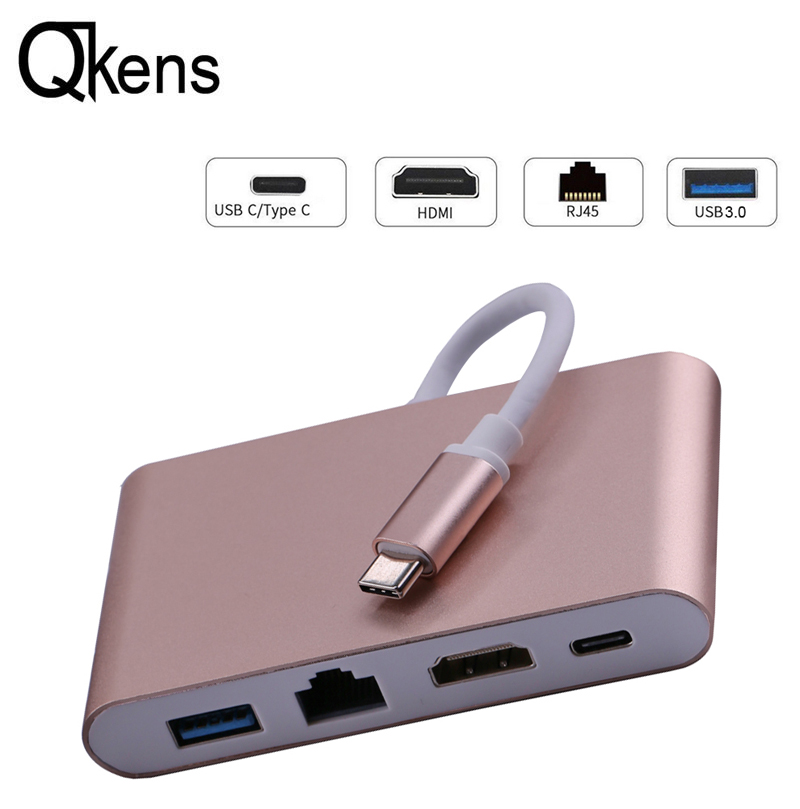 Type C to HDMI 4K+ Ethernet Adapter Network Card RJ45 Lan + USB 3.0 USB C Video Adapter Cable Converter for Macbook Air Pro HDTV