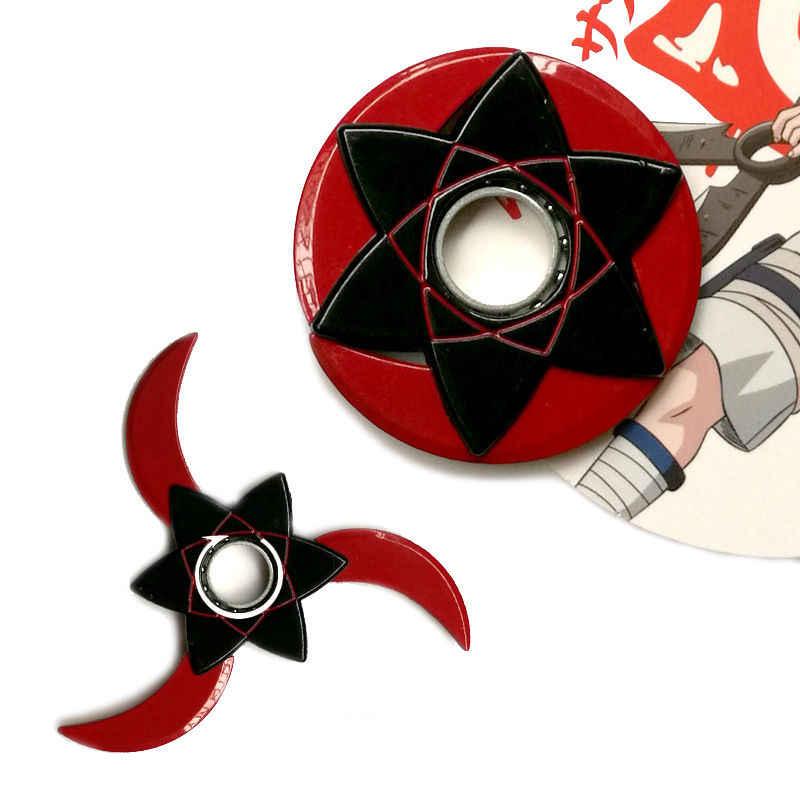 Anime Naruto Cosplay Metallo Girevole Armi Giocattoli di Modello Hokage Uchiha Sasuke Sharingan Shuriken Lega di Capretti del Regalo Dei Bambini Prop
