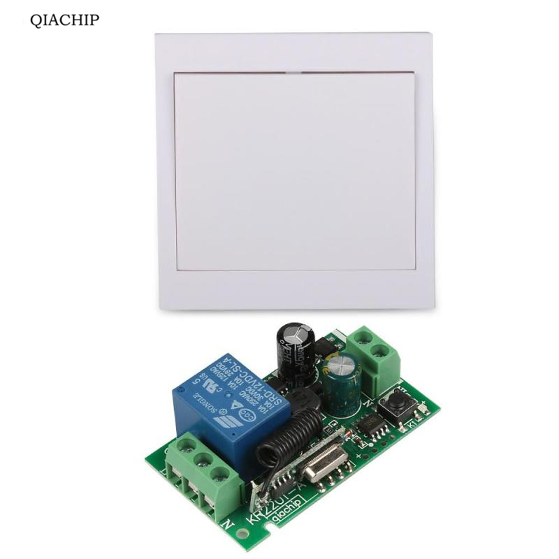 QIACHIP Wireless Relay Remote Control Switch AC 110V 220V Receiver 86 Wall Panel Transmitter Hall Bedroom Ceiling Lights Lamps 110v 220v remote relay control switch 12ch receiver