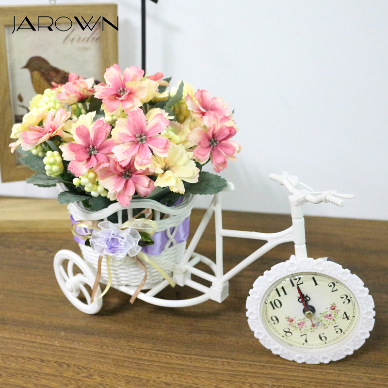 JAROWN Artificial Clocks Bicycles Flower Basket Silk Flower Set For Wedding Decoration Home Office Desktop Decoration Flores