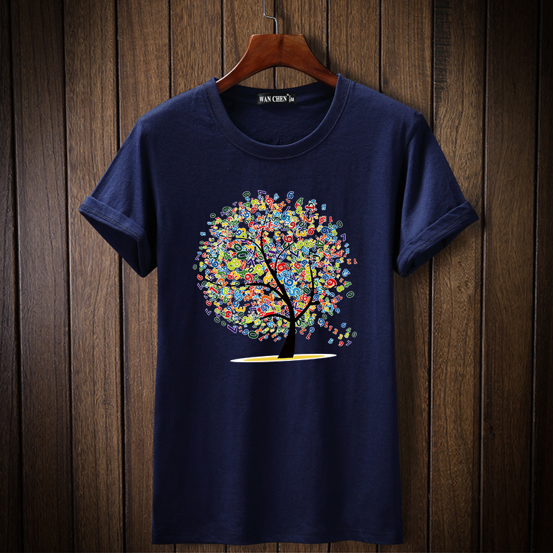 2019 New Fashion Lucky Tree tshirt Printed Men   T     shirt   Short Sleeve Casual   t  -  shirt   Hipster Fractal Pattern tees Cool Tops