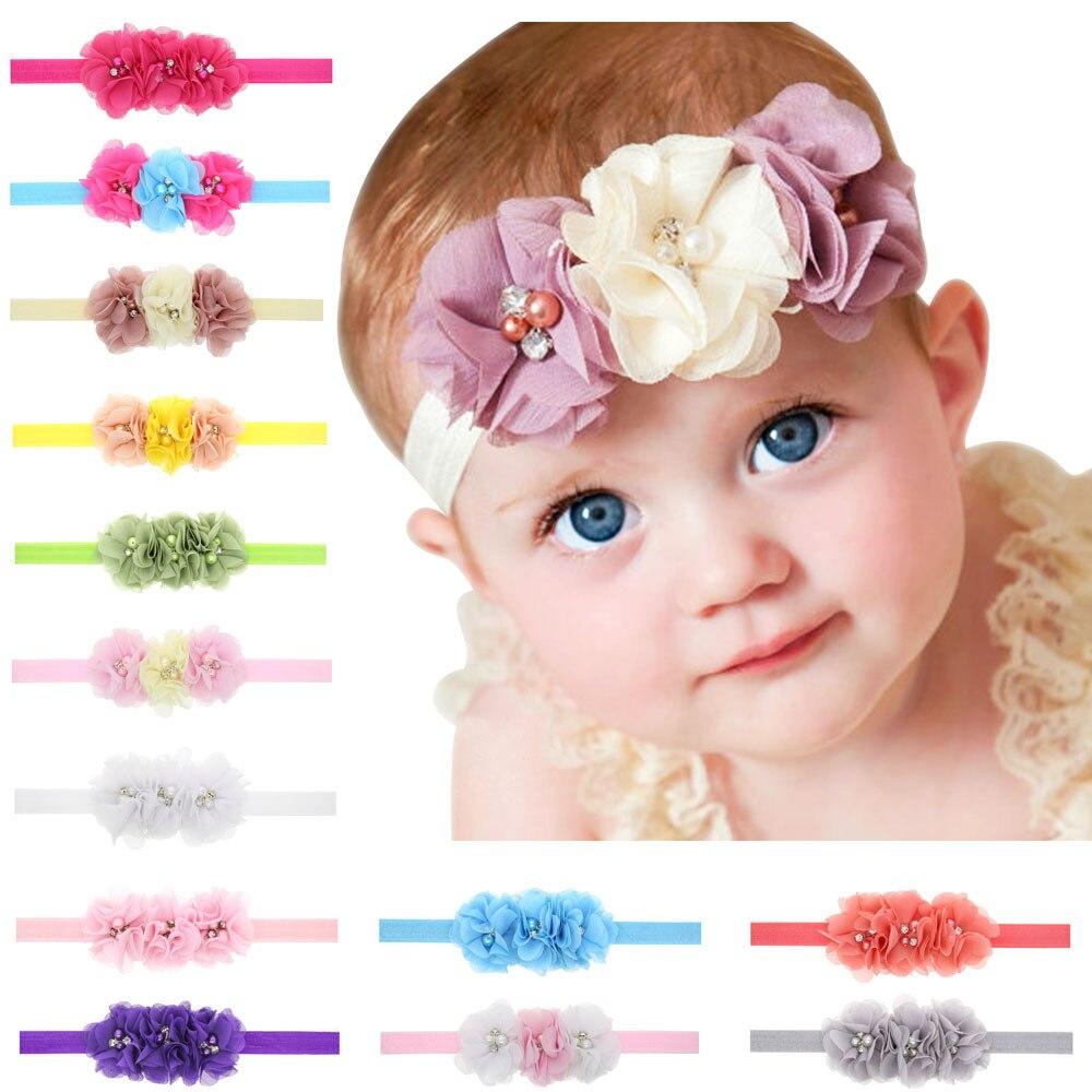 baby girl headband Infant hair chiffon flower Tie bows newborn   Headwear   tiara headwrap Toddler bandage Ribbon flower crystal