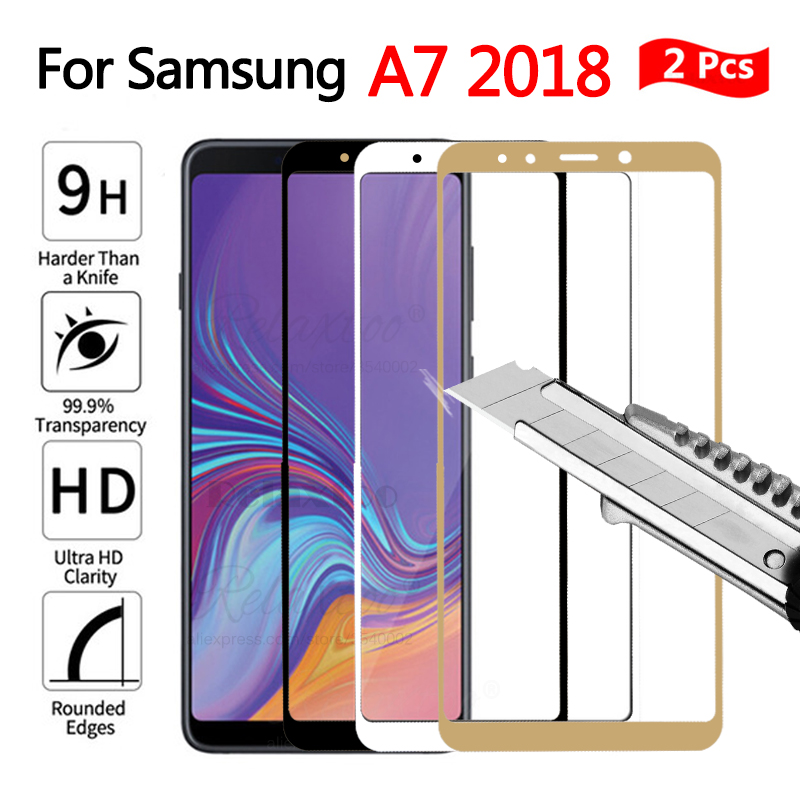 2 pcs full cover Tempered Glass For <font><b>Samsung</b></font> Galaxy A7 <font><b>2018</b></font> A750 Screen Protector on samung a 7 A7 <font><b>2018</b></font> <font><b>750</b></font> Protective touch Film image