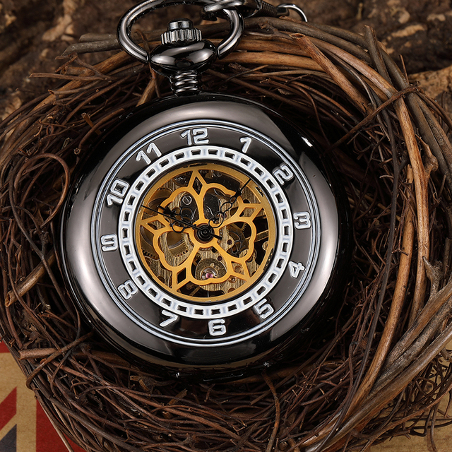 Vintage Hand Wind Mechanical Pocket Watch Men Black Steampunk Skeleton Fob Pocket Chain Watch Necklace Pendant Clock Gift