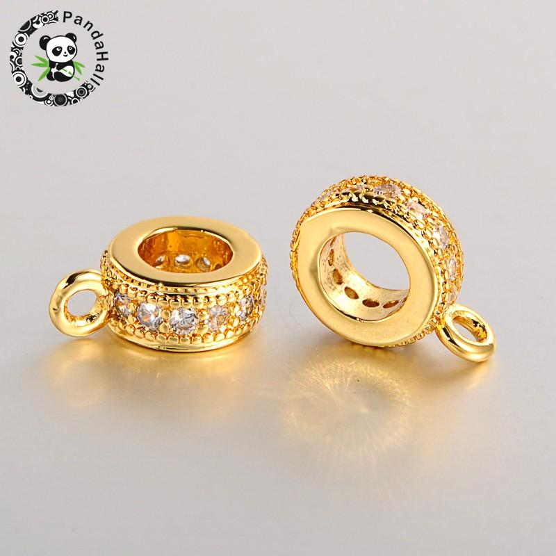 Brass Micro Pave Cubic Zirconia Hanger Links Bail Beads Platinum Rose Golden 11x8x3mm, Hole: 2mm And 4.5mm
