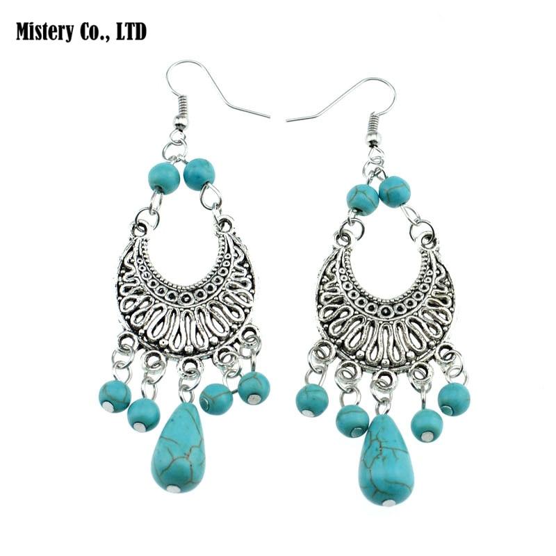 ER330 Gypsy Tibetan Silver Color Vintage Retro Drop Dangle Howlite Stone Earrings Fashion Jewelry Christmas Gift