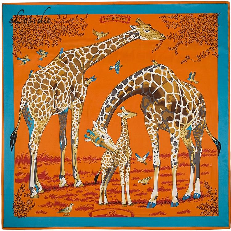 2020 Joker Big Size Square Silk Bandanas Womens Fashion Twill Giraffe Scarf Shawl Animal Print Big Bandanas Wholesale 130*130CM