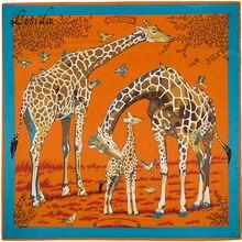 2020 Joker Big Size Vierkante Zijden Bandana Womens Fashion Twill Giraffe Sjaal Animal Print Grote Bandana Groothandel 130*130 Cm